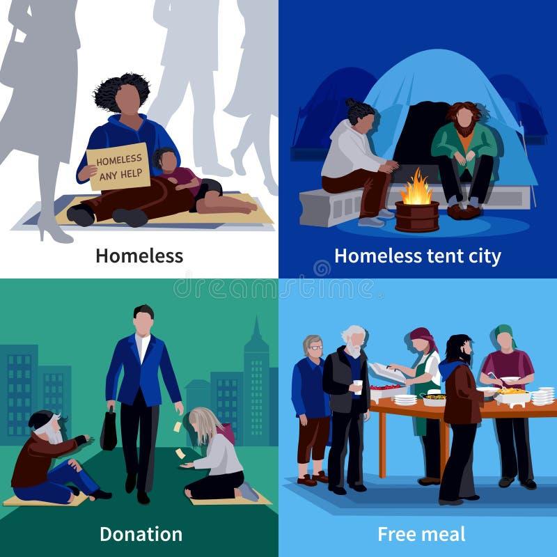 Concept de construction des personnes sans abri 2x2 illustration libre de droits
