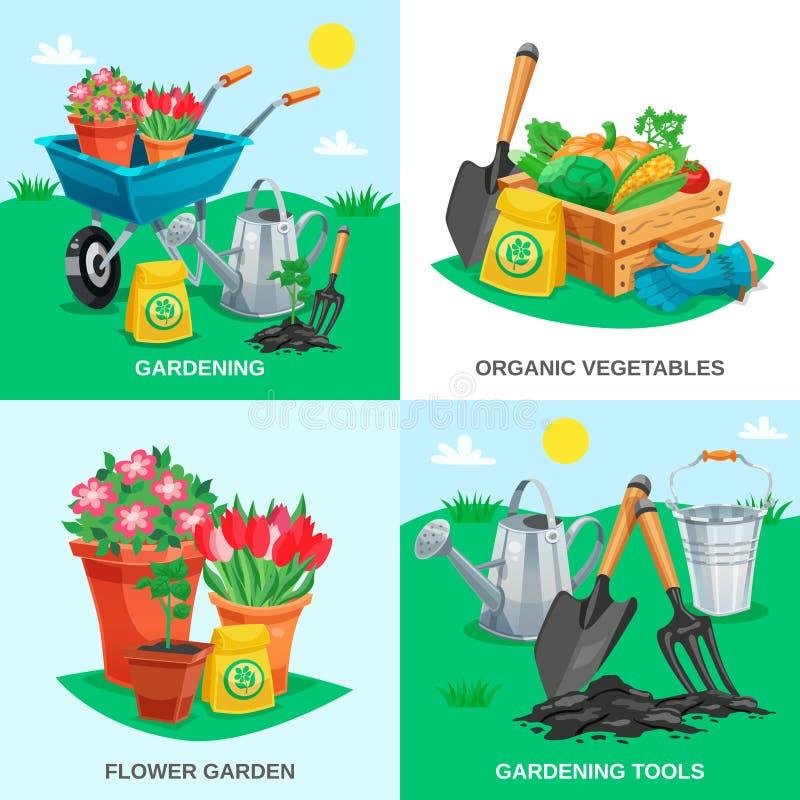 Concept de construction du jardin 2x2 illustration stock