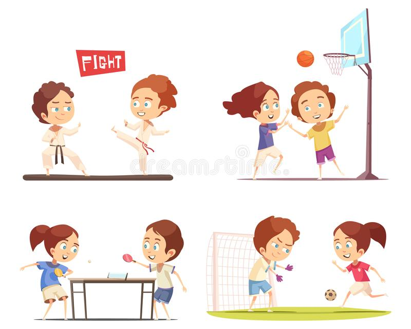 Concept de construction du sport 2x2 d'enfants illustration stock