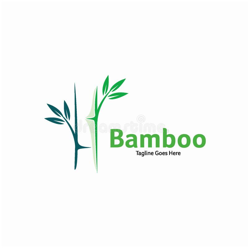 Concept de construction en bambou vert de logo, calibre en bambou de logo illustration libre de droits