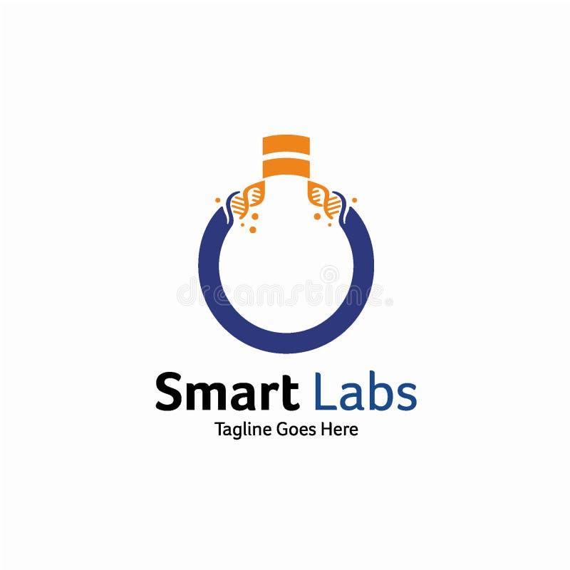 Concept de construction futé de logo de laboratoire, calibre de logo d'ADN illustration de vecteur