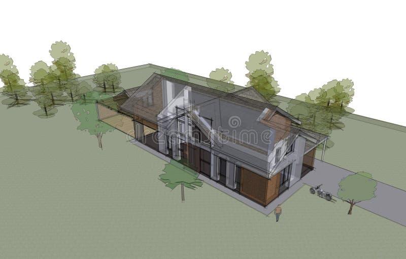Concept de construction individuelle, architectural et de construction de construction illustration libre de droits