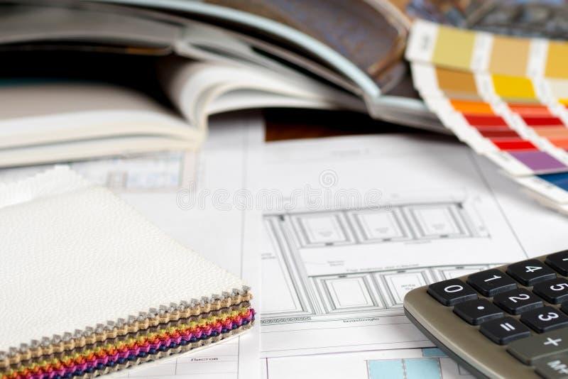 Concept de construction intérieure, catalogue de meubles de croquis de cuisine image libre de droits