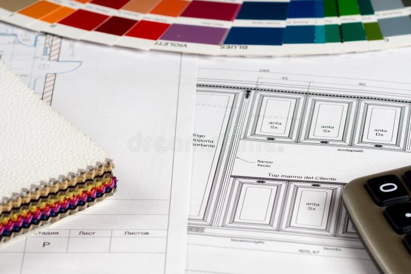 Concept de construction intérieure, couleur de croquis de cuisine et échantillon de cuir photos libres de droits