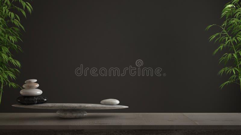 Concept de construction intérieure vide, shui de feng, idée de zen, table en bois de cru ou étagère avec l'équilibre en pierre de illustration stock