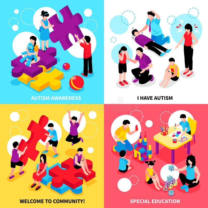 Concept de construction isométrique d'autisme illustration stock