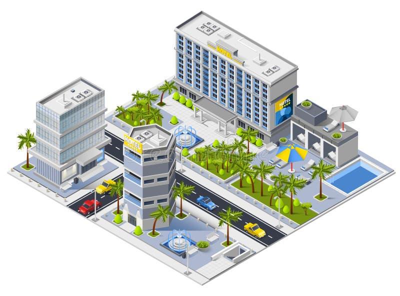 Concept de construction isométrique de bâtiments d'hôtel de luxe illustration de vecteur
