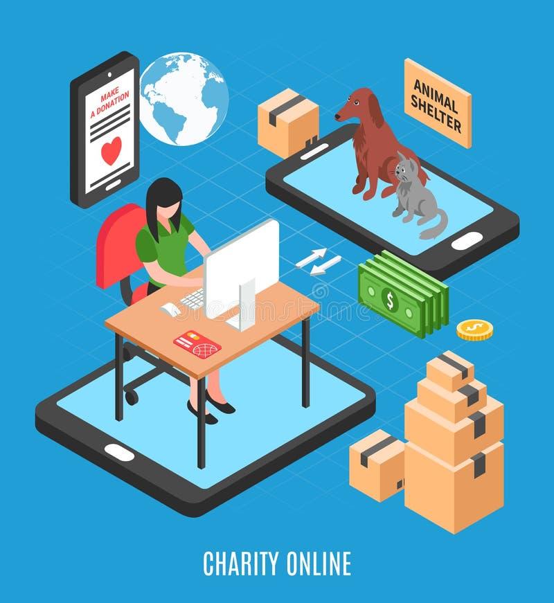 Concept de construction isométrique en ligne de charité illustration libre de droits