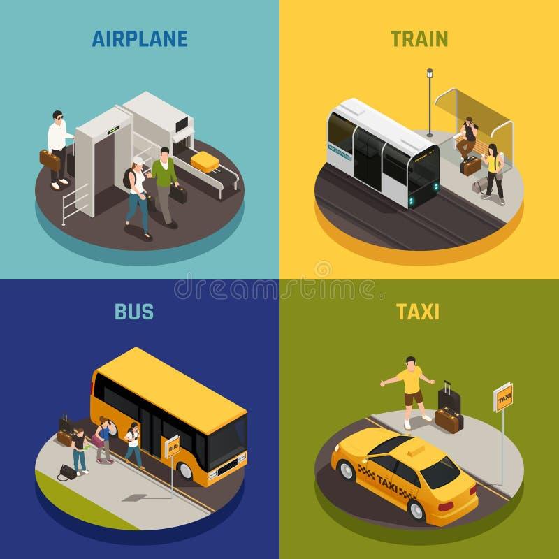Concept de construction isométrique de personnes de voyage illustration de vecteur