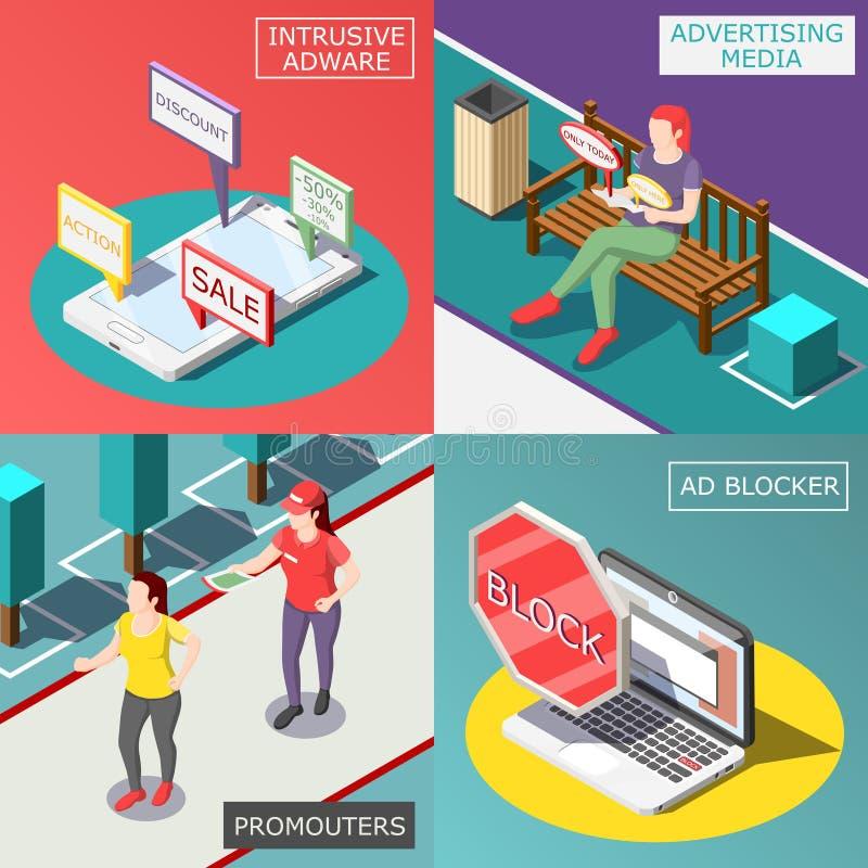Concept de construction isométrique de publicité ennuyeuse illustration libre de droits