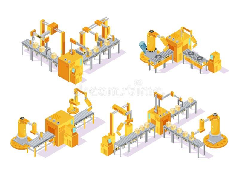 Concept de construction isométrique de système de convoyeur illustration de vecteur