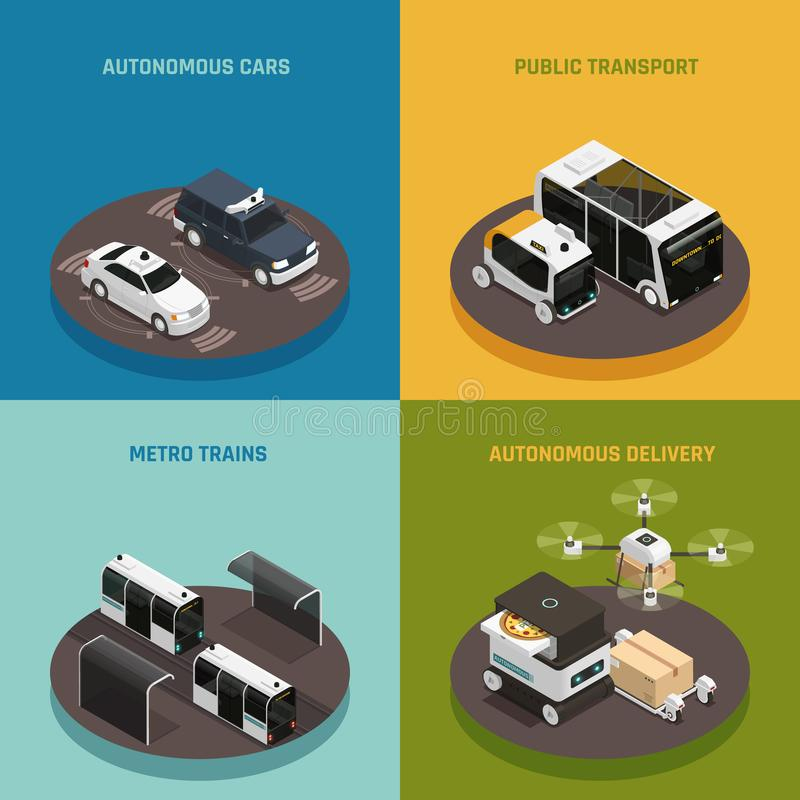 Concept de construction isométrique de véhicules autonomes illustration de vecteur