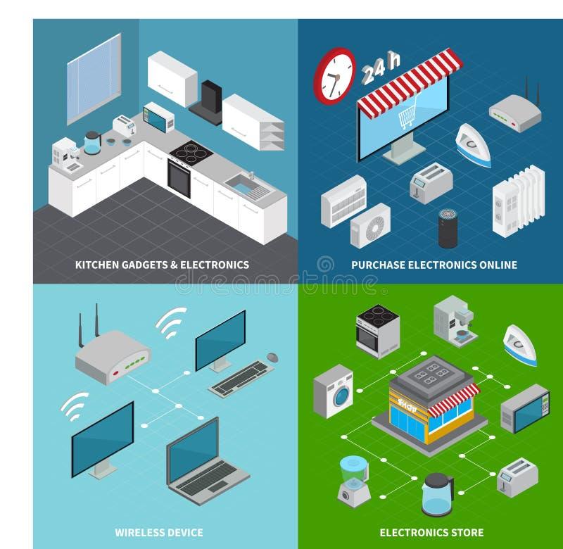 Concept de construction de l'électronique grand public 2x2 illustration stock