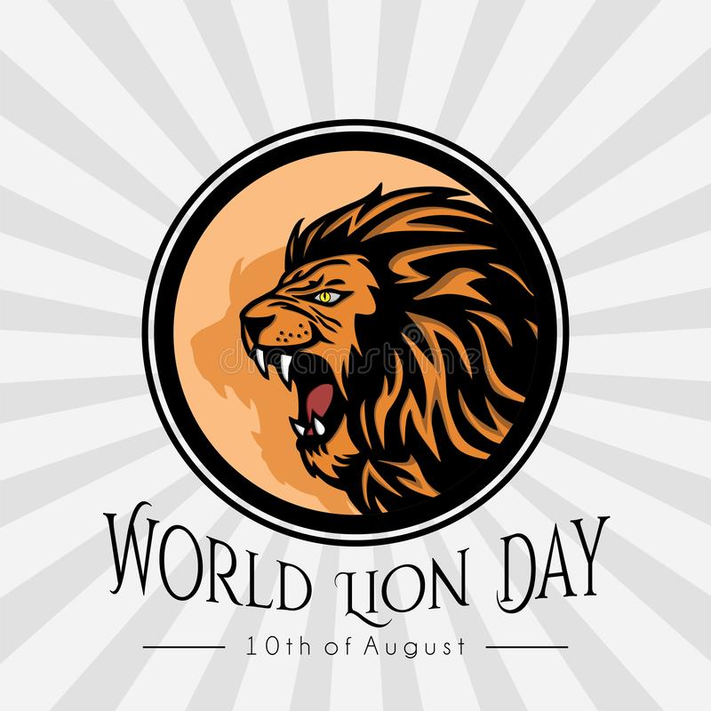 Concept de construction de Lion Day Icon Vector du monde illustration stock