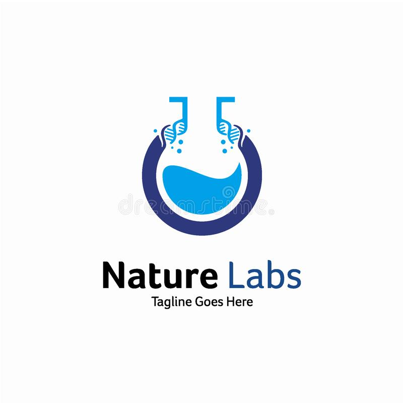 Concept de construction de logo de laboratoire de nature, calibre de logo d'ADN illustration stock