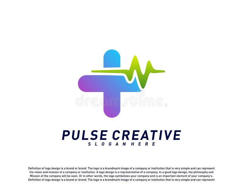 Concept de construction de logo médical plus d'impulsion ou de vague Vecteur de calibre de logo d'impulsion de soins de santé Sym illustration de vecteur
