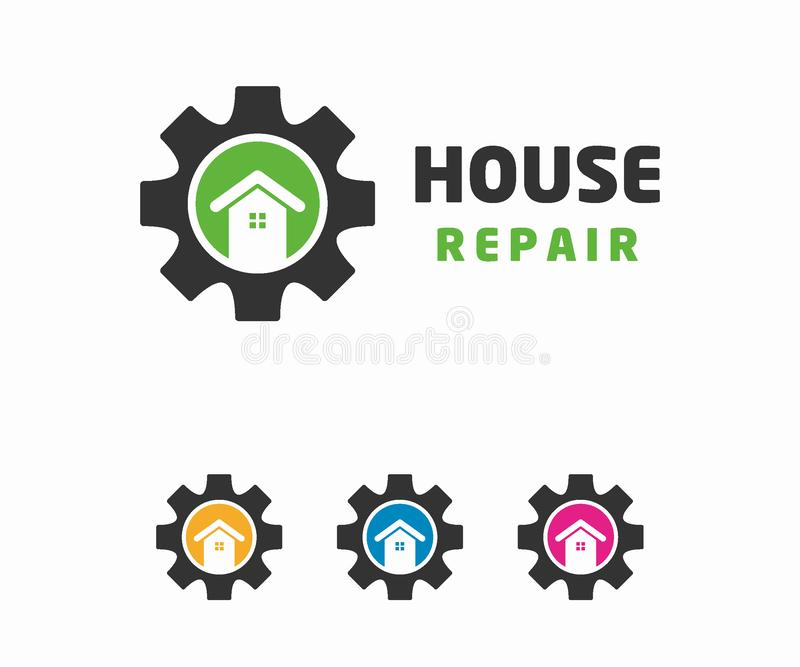 Concept de construction de logo de réparation de Chambre Calibre de logo d'immobiliers illustration libre de droits