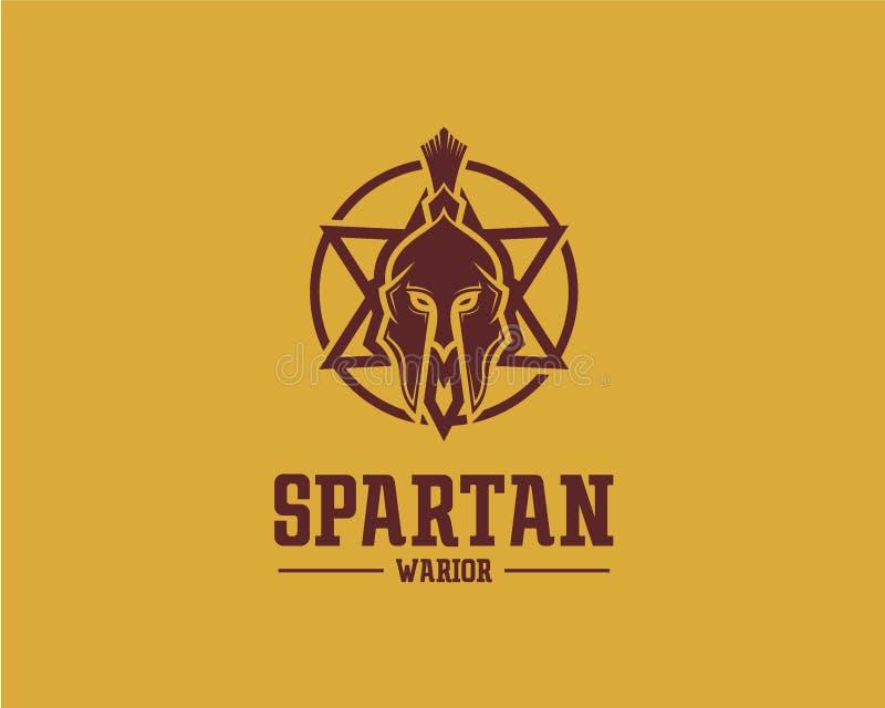 Concept de construction de logo de Spartan Warrior, calibre de vecteur de logo de sport illustration stock