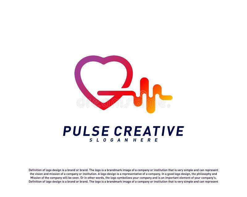 Concept de construction médical de logo d'impulsion d'amour Vecteur de calibre de logo d'impulsion de soins de santé Symbole d'ic illustration de vecteur