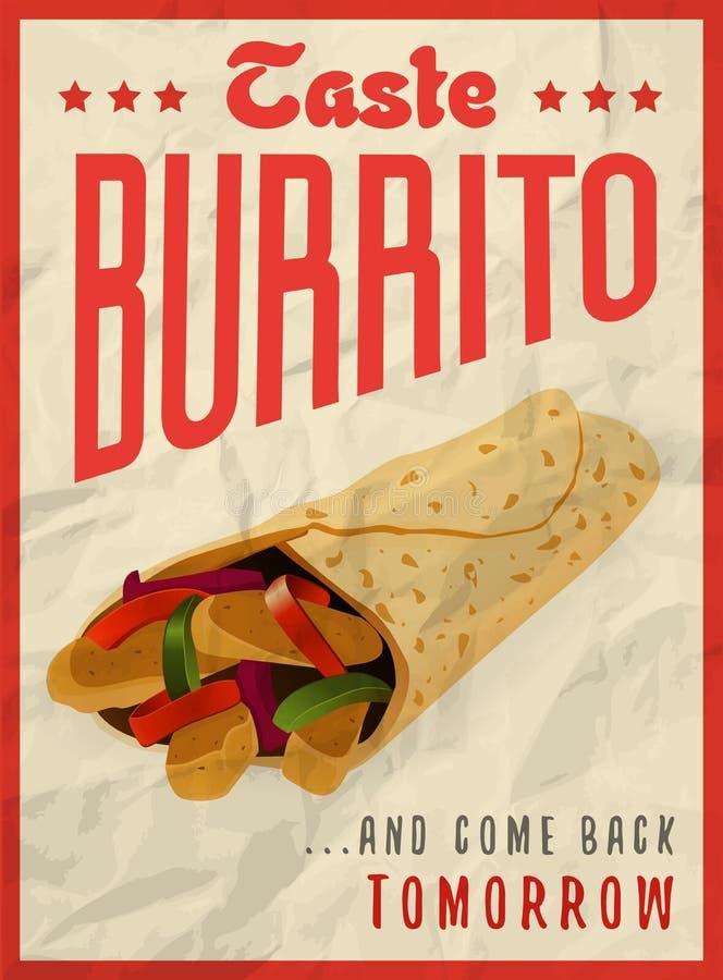 Concept de construction mexicain d'affiche de burrito illustration libre de droits