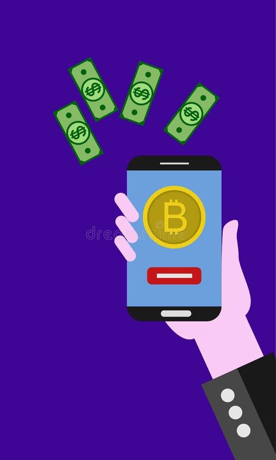 Concept de construction moderne plat de technologie de cryptocurrency, échange de bitcoin, opérations bancaires mobiles illustration de vecteur