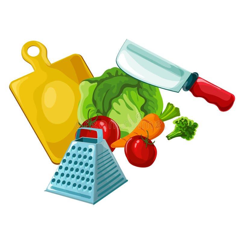Concept de construction organique coloré avec la collection de légumes frais dans le style comique illustration libre de droits