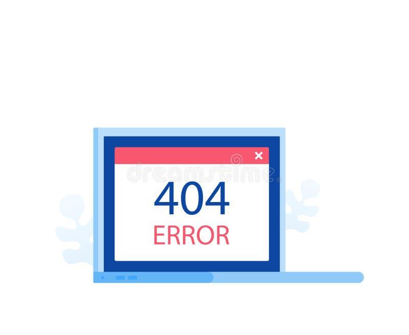 concept de construction de page de 404 erreurs Écran d'ordinateur portable avec l'erreur Illustration plate moderne de vecteur de illustration libre de droits