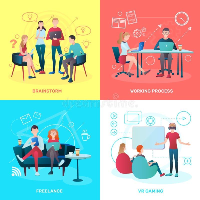 Concept de construction plat de Coworking illustration de vecteur
