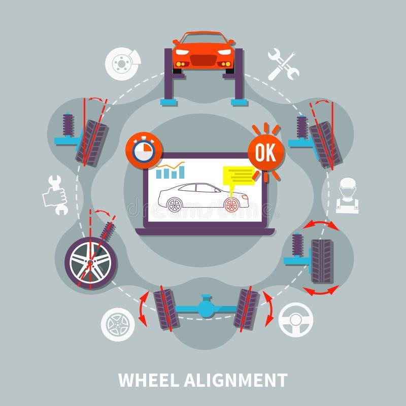 Concept de construction plat d'alignement des roues illustration stock