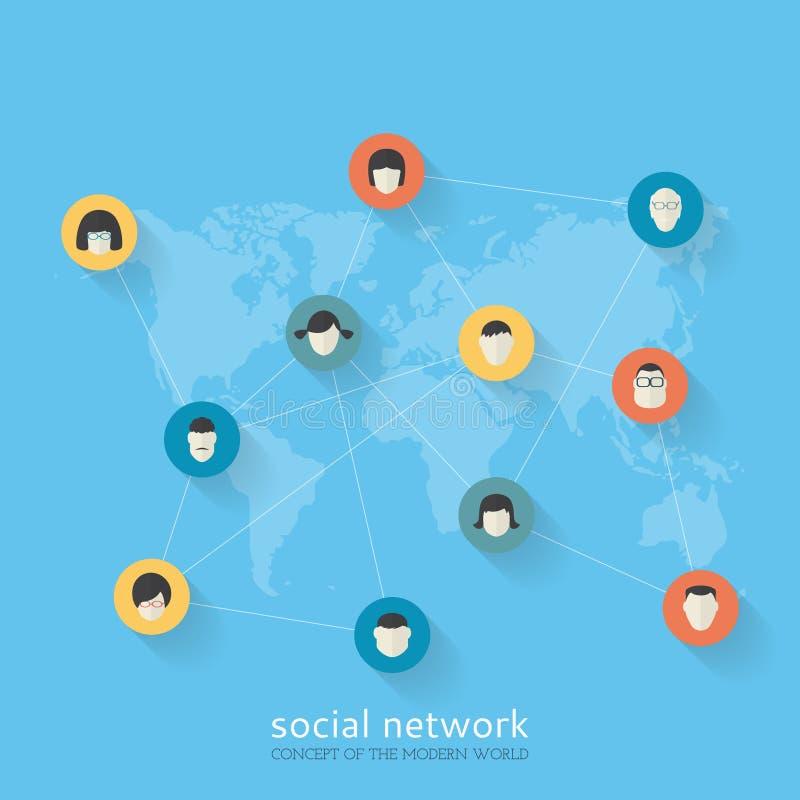 Concept de construction plat de réseau social illustration stock