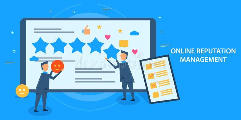 Concept de construction plat de gestion en ligne de réputation, feedback de la clientèle, estimation, étoile, évaluation illustration de vecteur