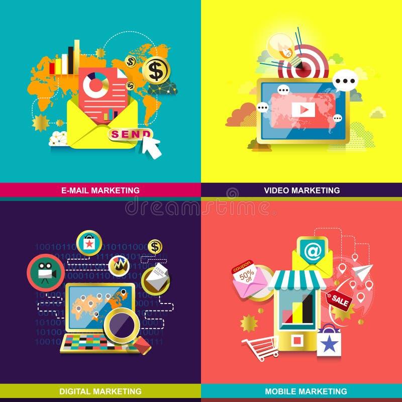 Concept de construction plat pour des services de Web et de téléphone portable illustration de vecteur