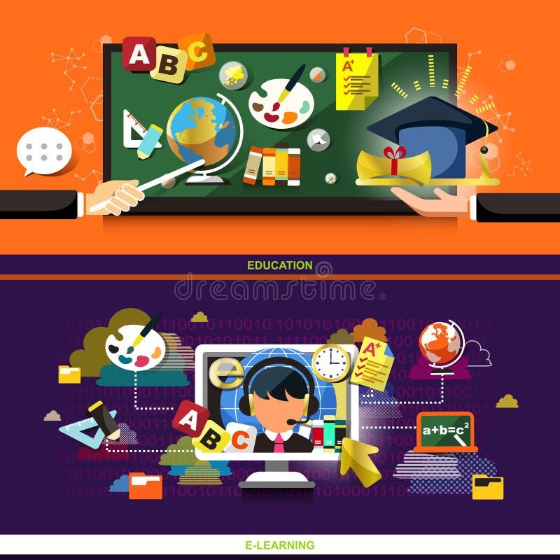 Concept de construction plat pour l'éducation et apprendre en ligne illustration de vecteur