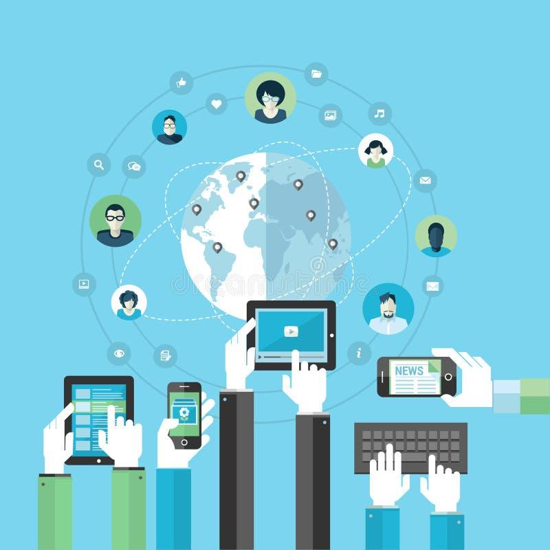 Concept de construction plat pour le réseau social illustration libre de droits