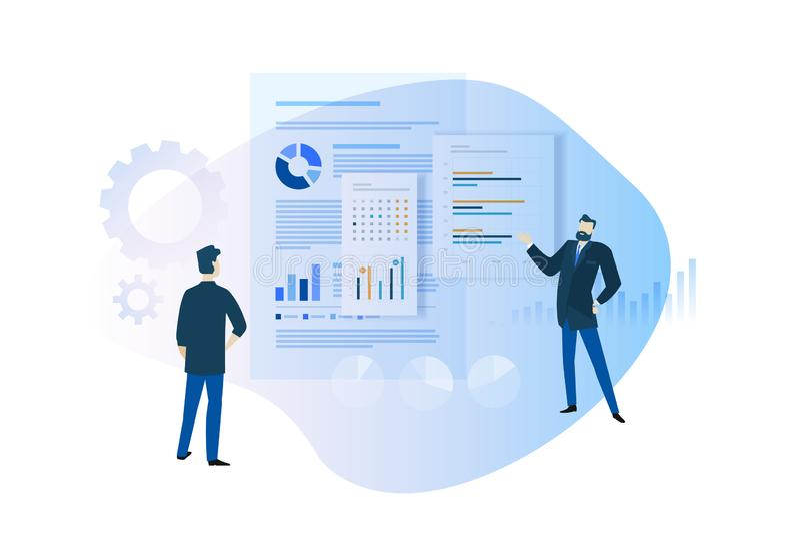 Concept de construction plat de rapport annuel, planification et statistiques, tendances et productivité, plan d'action illustration libre de droits