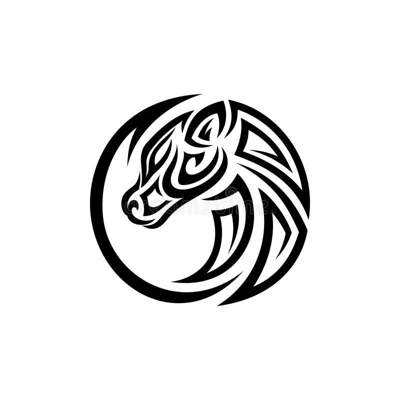 Concept de construction tribal du meilleur de silhouette cheval principal rond créatif d'illustration illustration libre de droits