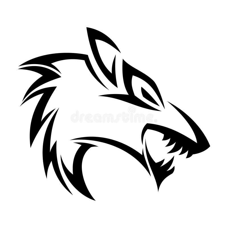 Concept de construction tribal du meilleur de silhouette d'illustration renard créatif de tête illustration stock