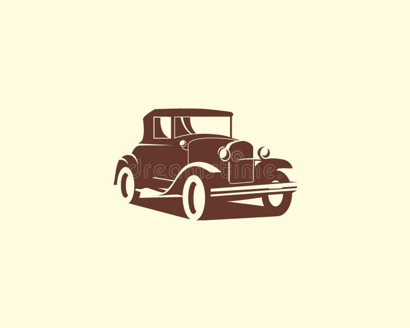Concept de construction de vecteur de voiture de silhouette, vieille voiture, calibre classique de logo de voiture illustration de vecteur