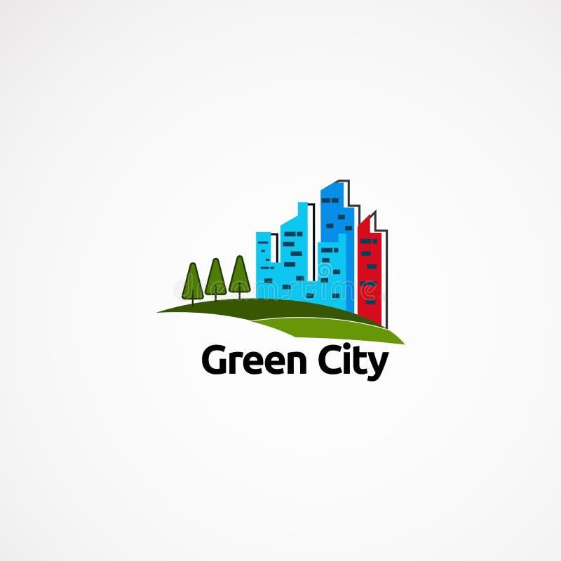 Concept de constructions de logo d'horizon, icône, élément, et calibre verts pour la société illustration stock