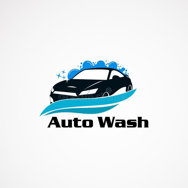 Concept de constructions de logo de voiture de lavage, icône, élément, et calibre automatiques illustration libre de droits