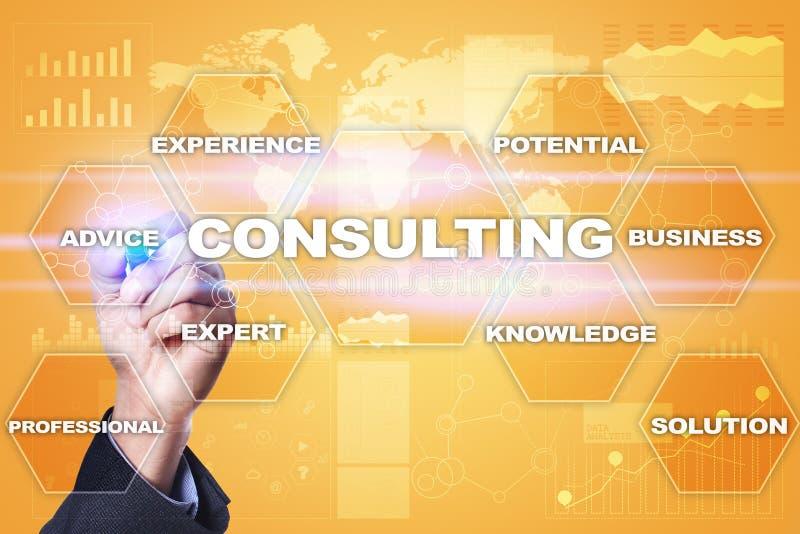 Concept de consultation d'affaires Texte et icônes sur l'écran virtuel photographie stock