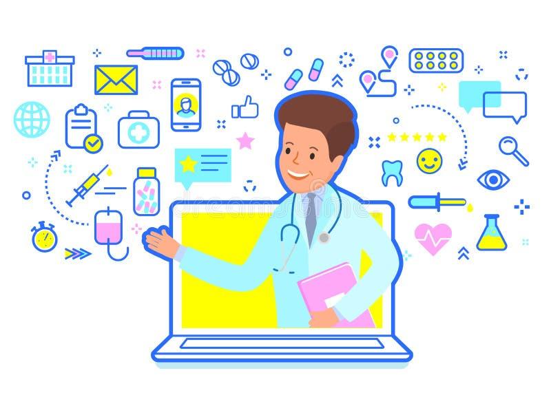 Concept de consultation médicale en ligne Docteur donnant la consultation en ligne illustration stock