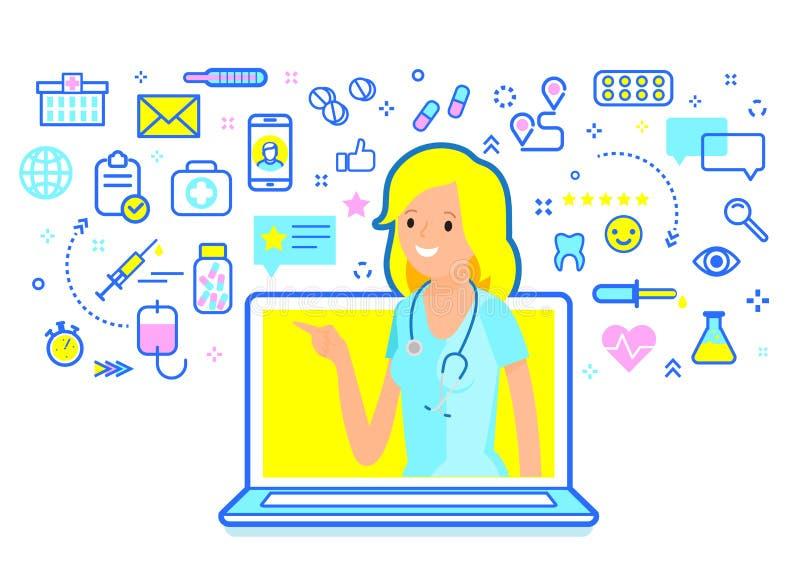 Concept de consultation médicale en ligne Docteur de femme donnant la consultation en ligne illustration libre de droits