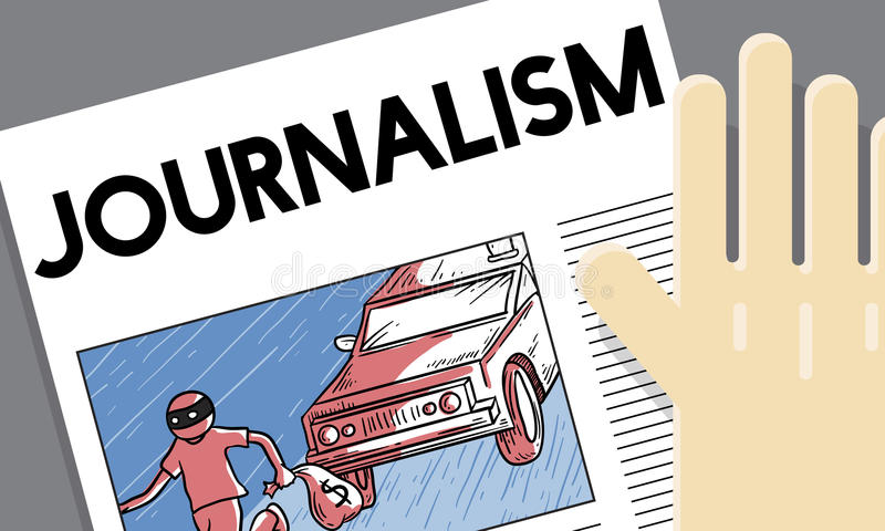 Concept de contenu d'article d'entrevue d'actualités de journalisme illustration de vecteur