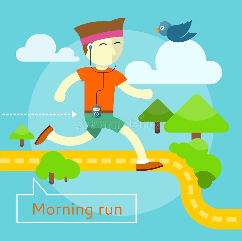 Concept de course de matin illustration de vecteur