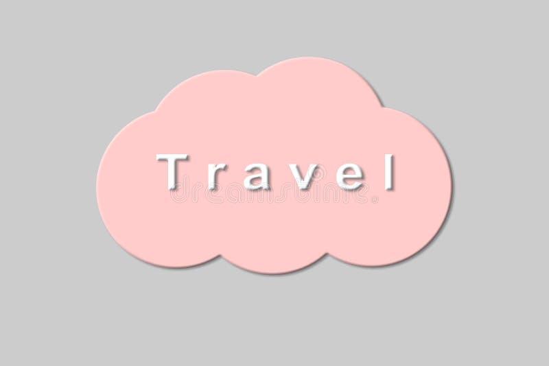 Concept de course texte de voyage sur un nuage rose sur un fond gris photographie stock