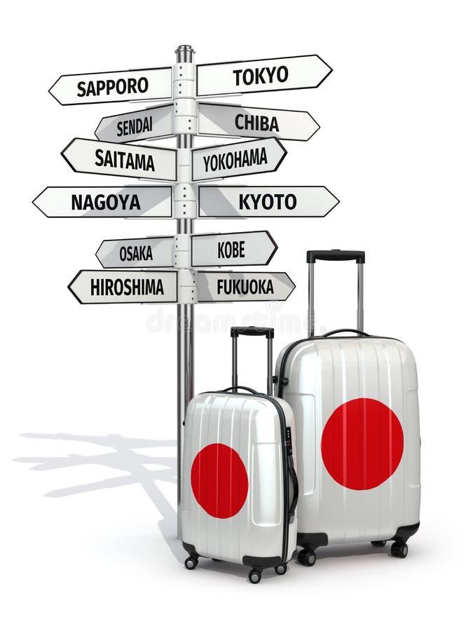 concept de course Valises et poteau indicateur ce qui à visiter au Japon illustration stock