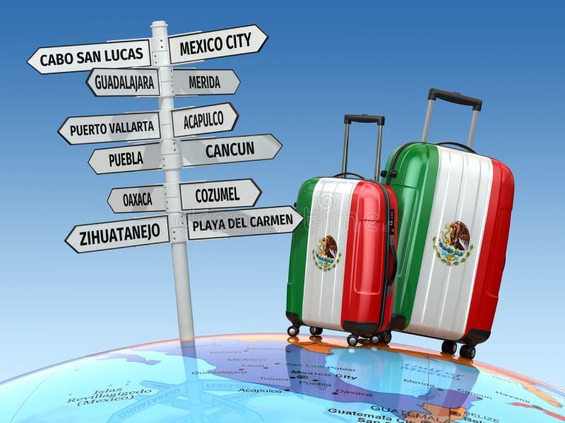 concept de course Valises et poteau indicateur ce qui à visiter au Mexique illustration stock