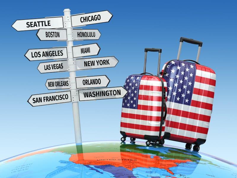 concept de course Valises et poteau indicateur ce qui à visiter aux Etats-Unis illustration stock
