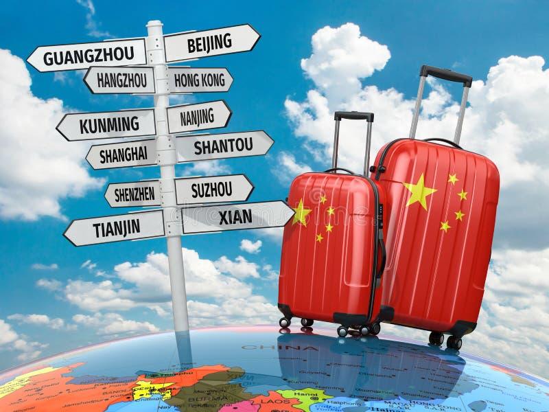 concept de course Valises et poteau indicateur ce qui à visiter en Chine illustration de vecteur